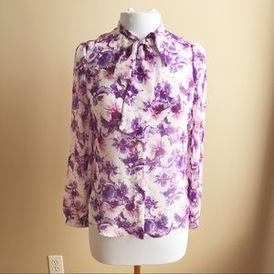 American apparel chiffon floral bow button up top